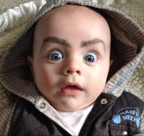 Drawing eyebrows on babies is hilariously terrifying