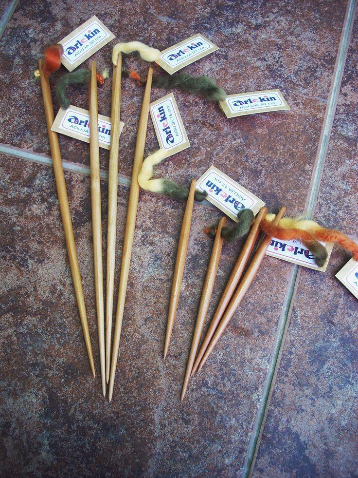 Agujas de madera de 50, 40, 30, 20, 15 y 10 cm. de largo