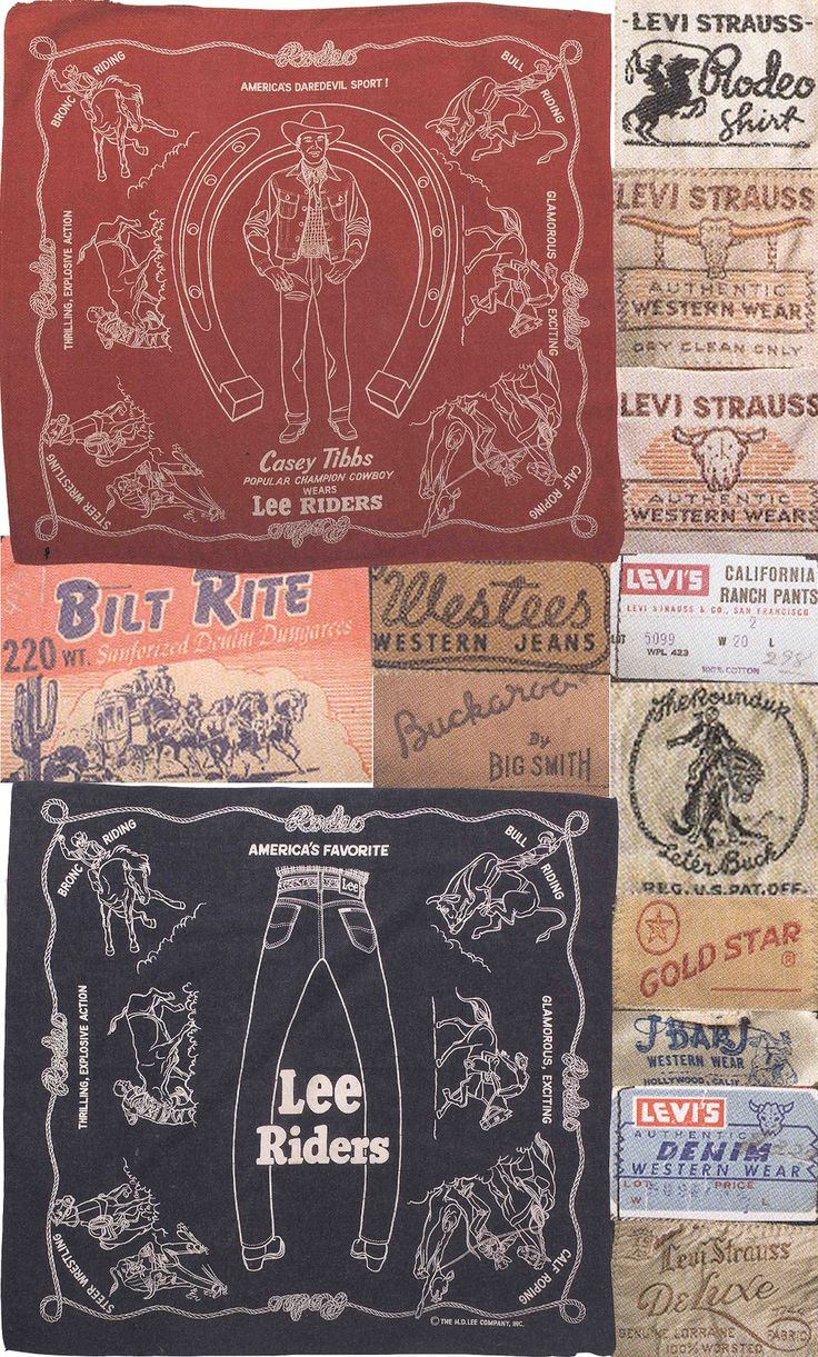 Great vintage clothing label collection, including Levi's and Lee.