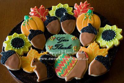 Sweet Handmade Cookies - Thanksgiving cookies, squirrel cookies, turkey cookies, acorn cookies, sunflower cookies, oak leaf cookies, pumpkin cookies.