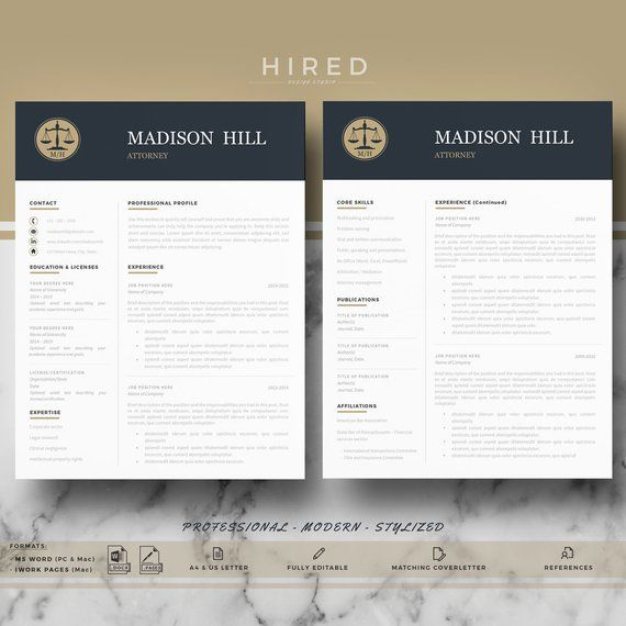 Lawyer Resume Template For Word Pages Professional Attorney Etsy Resume Template Cover Letter Format Resume