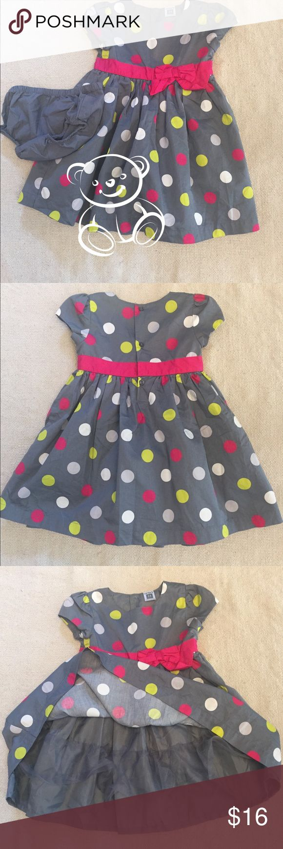 Girl's Polka Dot Party Dress Grey dress with light grey, pink and lime polka dots. Hot pink trim and bow at the waist. Dress is fully lined. Cap sleeves. Carter's Dresses Formal