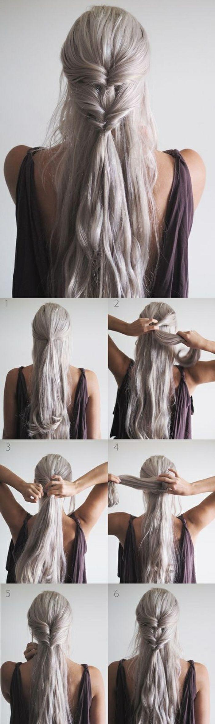 lange, graue haare, braunes kleid, schöne flechtfrisur mit zopf