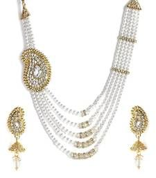 Buy Paisley Style Pearl Necklace Set necklace-set online
