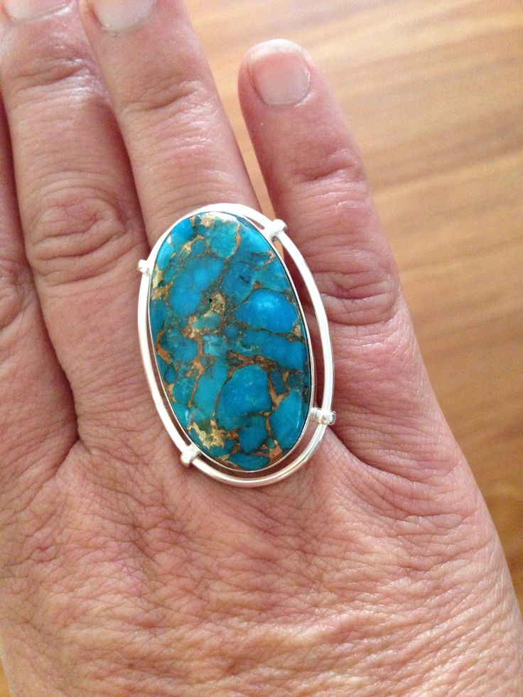 Copper Turquoise Ring set in premium sterling silver...you can find it at www.facebook.com/TreasuresThatInspire