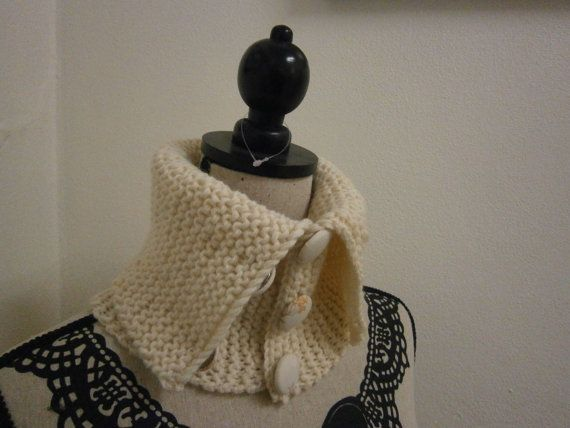 Hand Knit Neck Warmer Collar with Vintage Fabric Buttons