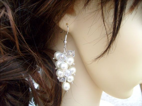 Ivory Pearl Cluster Earrings Bridal Pearl Earrings by KIMMSMITH, $14.00