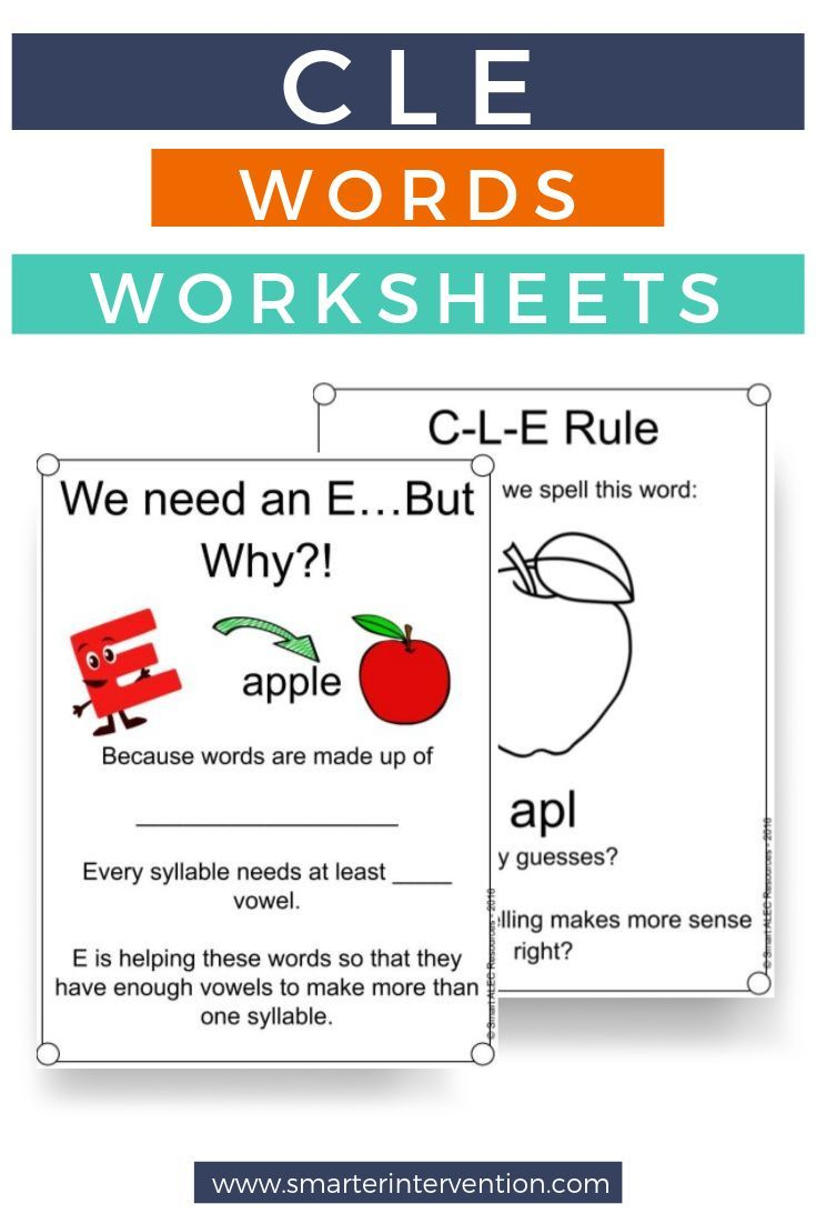 medium resolution of CLE Words Worksheets   Reading intervention strategies