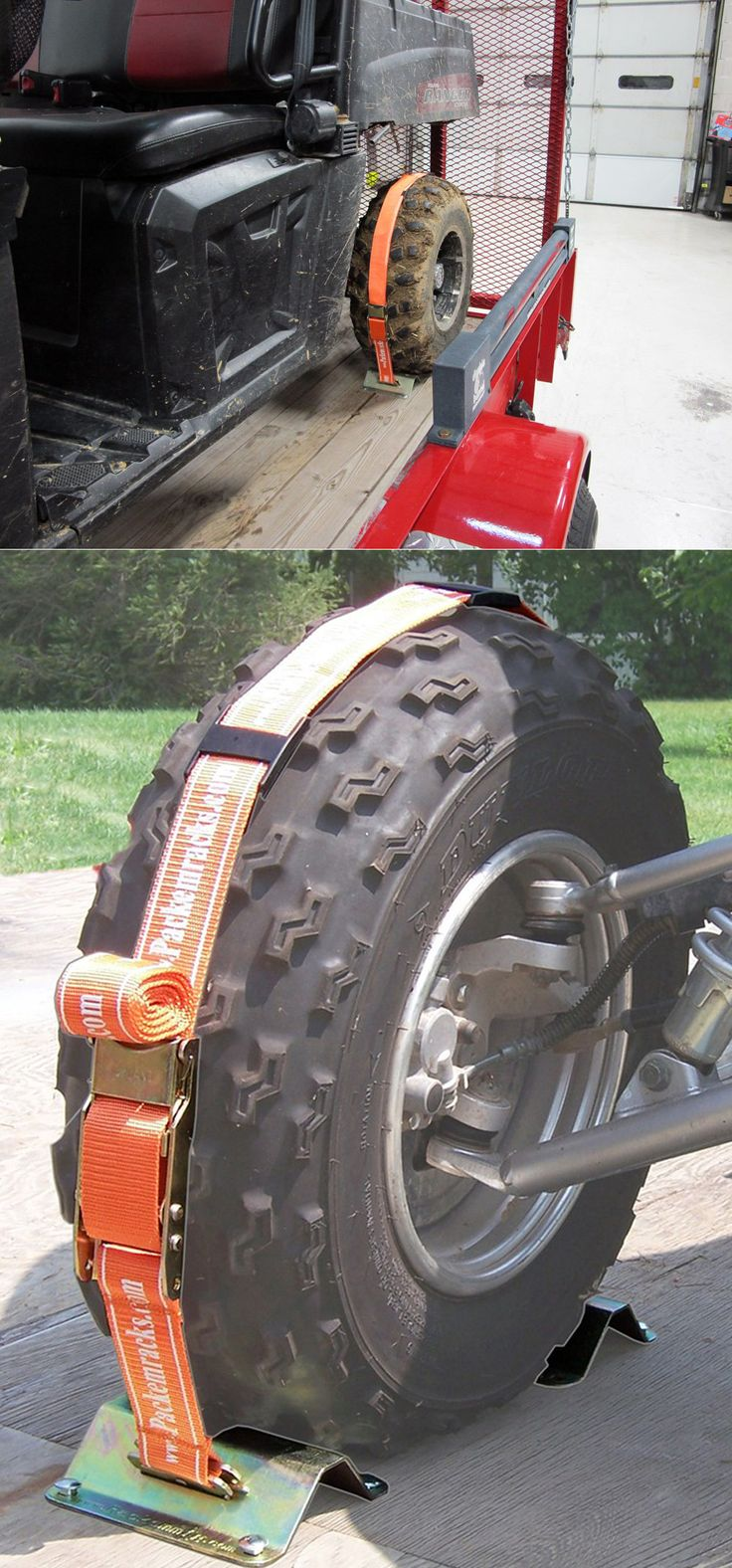 Keep ATVs, construction equipment, mowers and more from rolling during transport with these tie downs. Useful when traveling and for camping trip purposes!
