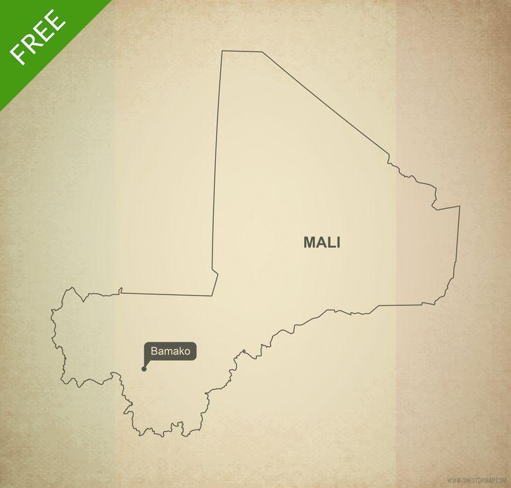 Free map of Mali outline Printable