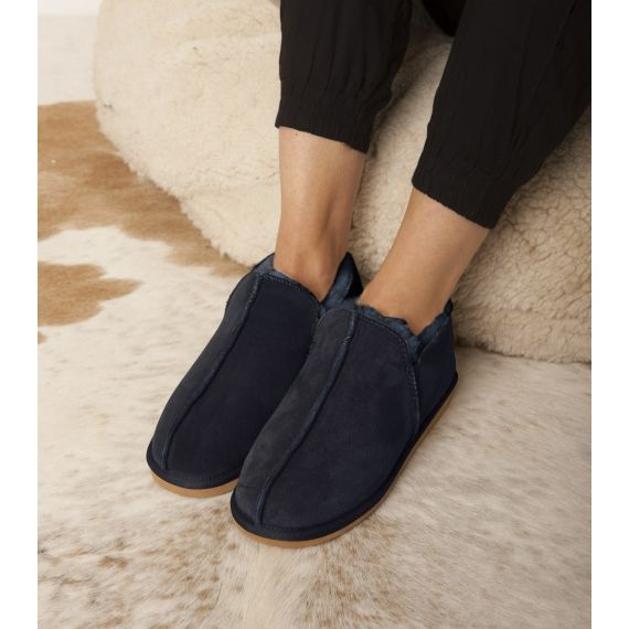 Aspiga Lola Sheepskin Slippers Navy. £40. Handcrafted from 100% sheepskin they make the perfect treat this winter. Worldwide Shipping Available.