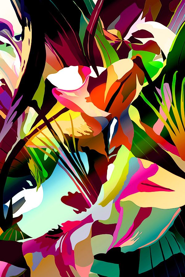 Michele Vadez Abstract Illustration Flower 5  Digital Ink Jet Print  2012