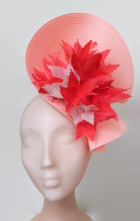 Salmon and coral fascinator, coral derby hat, nude coral wedding hat, salmon pink fascinator, coral races hat, feather fascinator, Flower hat -  Gorgeous salmon fascinator decorated with some coral and white flowers handmade with feathers.  It is a fascinator that can be combined with the shoes and wear it with a dress of another color creating a contrast that makes all this in harmony.  You can choose the side of the head were you like to wear the fascinator.  Kentucky derby attire
