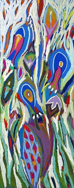 """Tableau """"Bouquet aux trois clochettes"""" de Vincent Dufour - Pastel sec de 25/60cm [tableau de style figuration libre et nouvelle figuration]"""