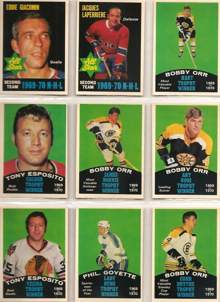 244-252 All Stars: Eddie Giacomin, Jacques Laperriere, Trophy Winners: Bobby Orr…