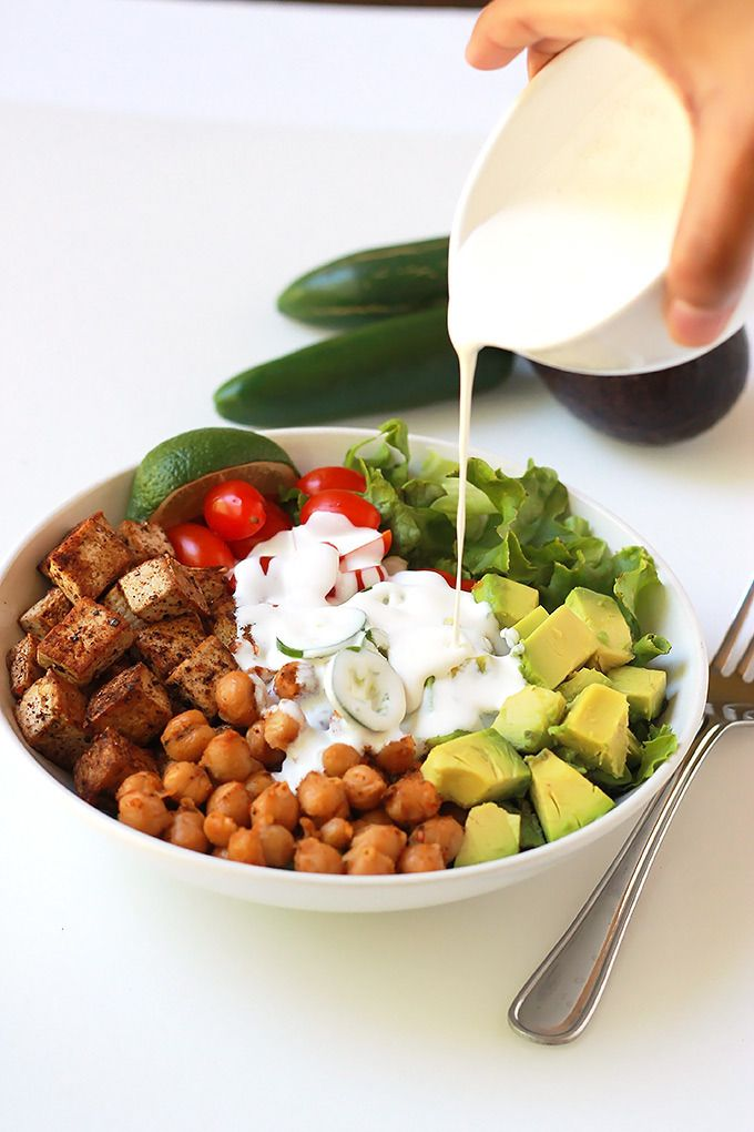 Spicy Chickpea Tofu Burrito Bowl  For Always Hungry make your own taco seasoning with salt, pepper, chili powder, cumin, and garlic powder