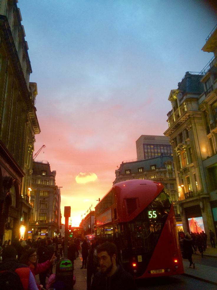 Red bus sunset, Oxford Circus