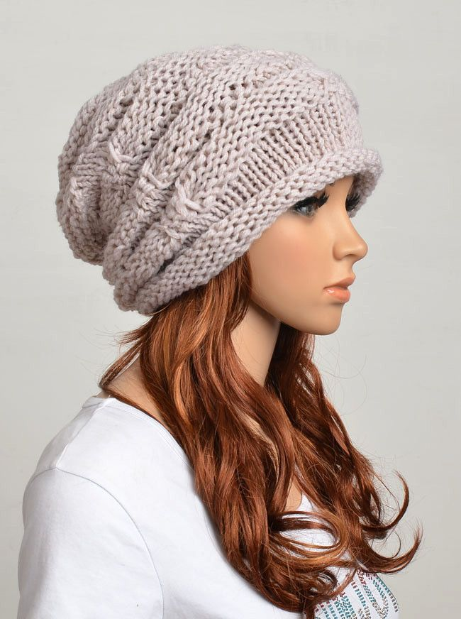 Slouchy woman handmade knitted hat clothing cap