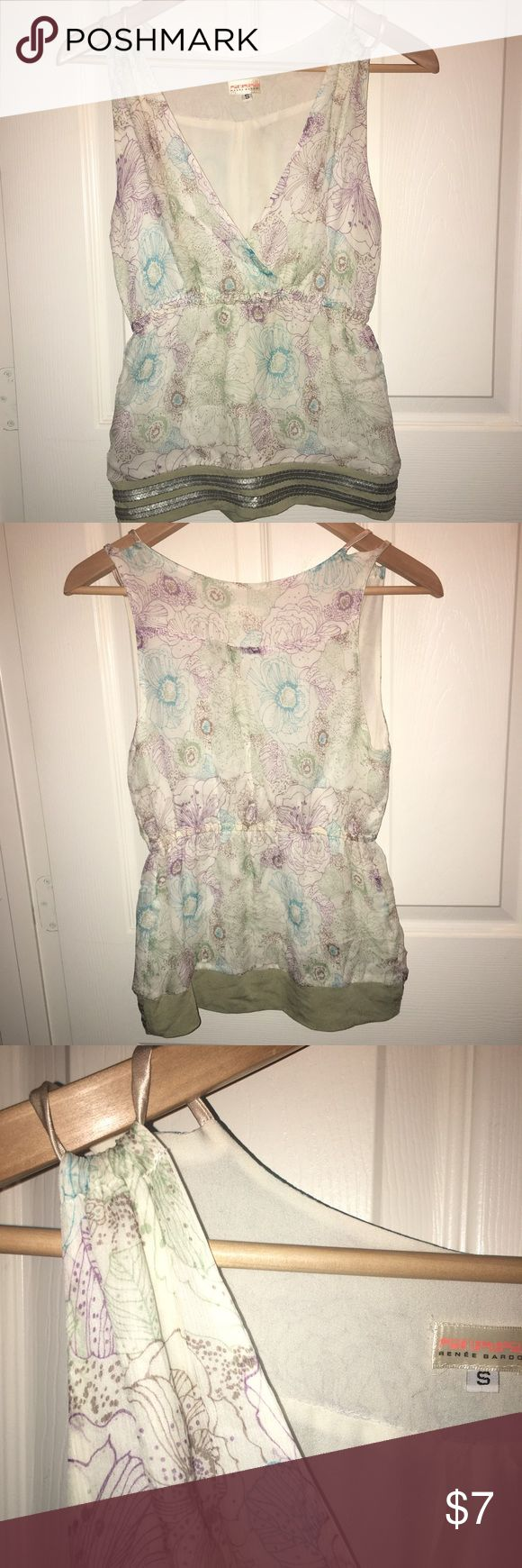 EUC Renèe Bardot top Sz S EUC Renèe Bardot top Sz S, ivory with lavender, turquoise, sage green floral print with sage/olive green hem with sequins. No snags, rips, stains Renee Bardot Tops Tank Tops