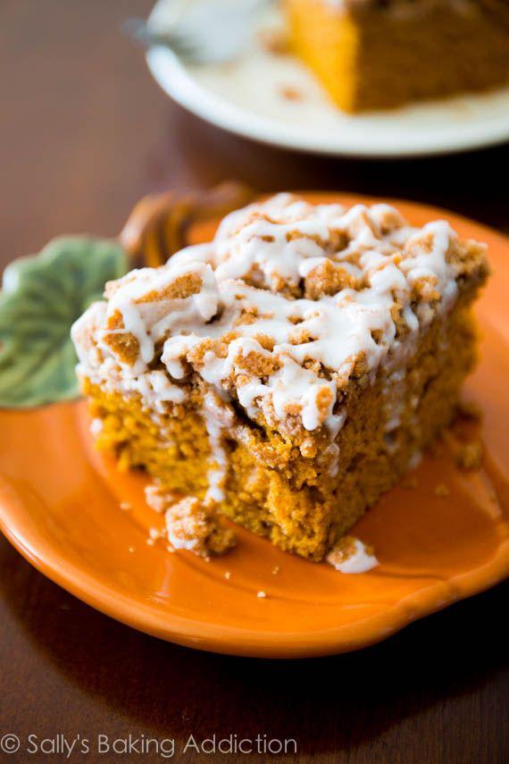 Iced Pumpkin Coffee Cake - super moist and easy to make. Recipe by sallysbakingaddiction.com