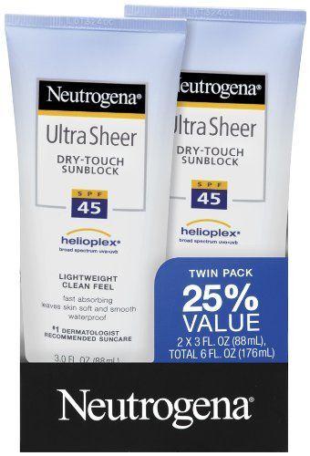 Neutrogena Ultra Sheer SPF 45 Twin Pack 3.0 Fl Oz: http://www.amazon.com/Neutrogena-Ultra-Sheer-Twin-Pack/dp/B004D2DR0Q/?tag=bribeatip-20
