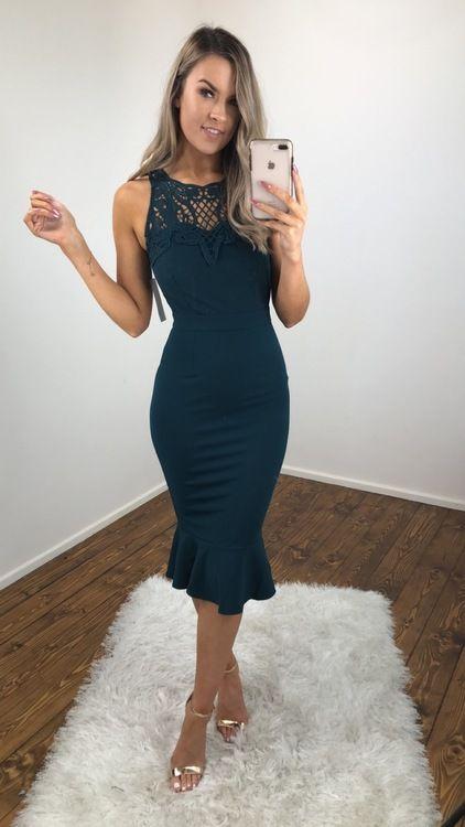 aa6e7d260238 Green Frill Hem Fitted Midi Dress | Shop Green Fitted Midi Dresses Online  Ireland | Next