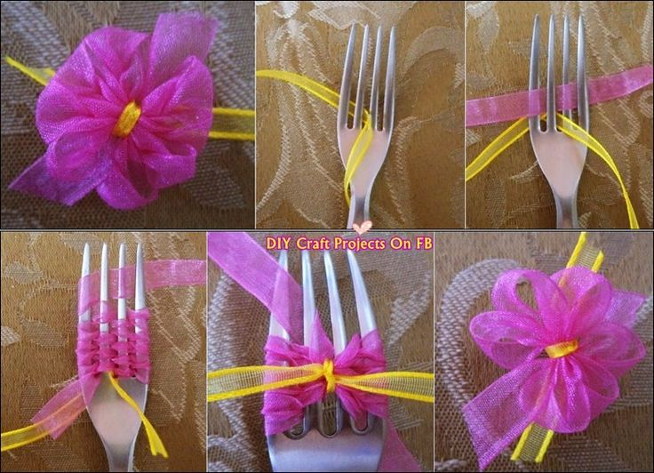 Hacer moños para los regalos con cinta y 1 tenedor Make gift wrapping flowers with ribbon and a fork LINK: http://diy-projectss.blogspot.com/2013/11/how-to-make-bow-with-fork.html