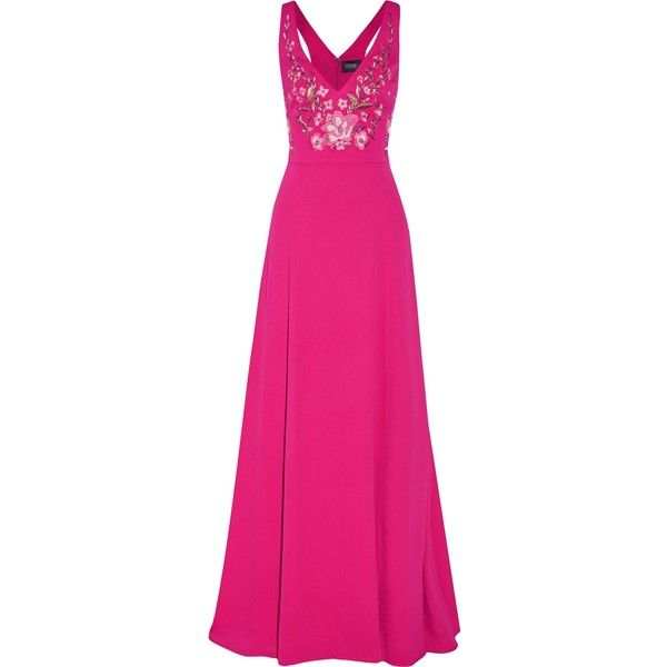 MARCHESA NOTTE   Embroidered crepe de chine gown (2.180 BRL) ❤ liked on Polyvore featuring dresses, gowns, fuschia pink dress, fuschia dress, pink evening dress, pink gown and notte by marchesa gown