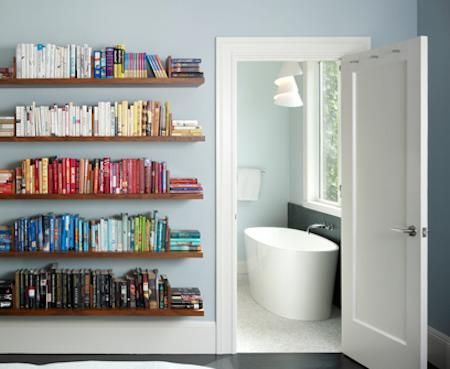 bookshelves: Ideas, Bookshelf Design, Colors, Bathtub, Book Shelves, House, Floating Bookshelves, Bookshelves And