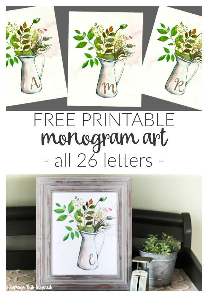 Download this free printable monogram botanical pitcher art to add a personalized and pretty decorative touch to your home! It's available in all 26 letters and is a beautiful watercolor printable filled with greenery and touches of spring.