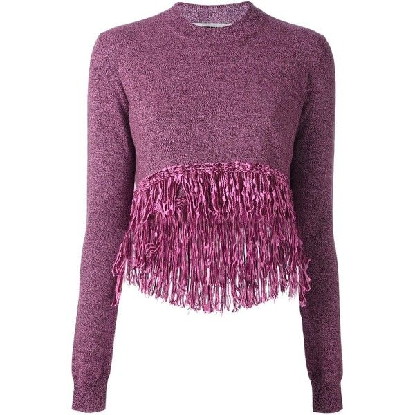 McQ Alexander McQueen Fringed Hem Jumper (£295) ❤ liked on Polyvore featuring tops, sweaters, wool jumpers, purple sweater, jumper top, purple top and purple long sleeve top