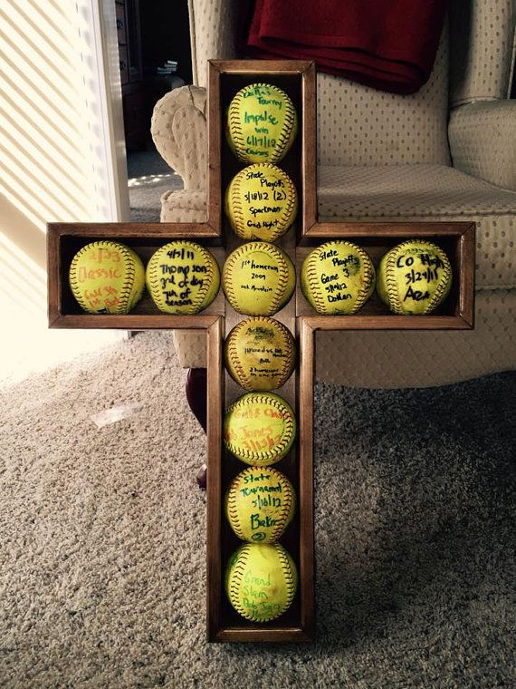 Hey, I found this really awesome Etsy listing at https://www.etsy.com/listing/217279007/softball-cross-shadow-box-display