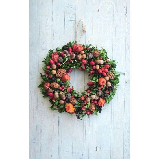 Őszi nagy ajtódísz termésekkel gazdagon