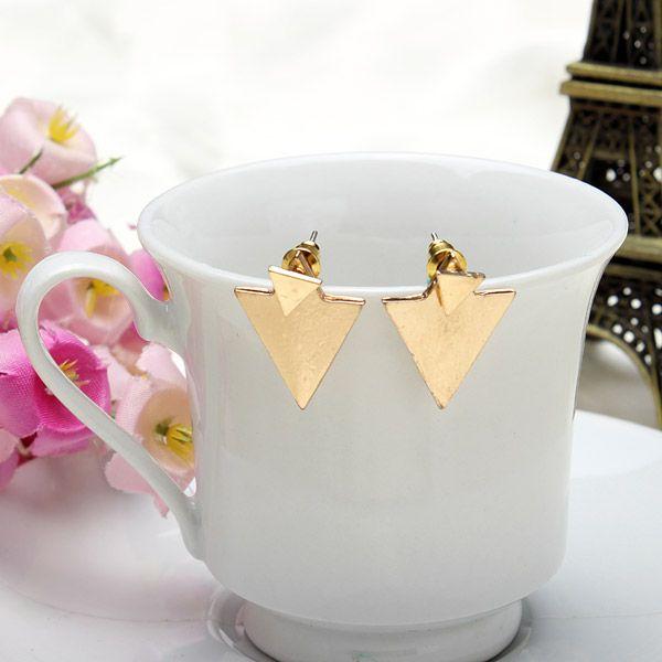 Gold Silver Geometric Triangle Stud Earrings For Women Punk Jewelry at Banggood women fashion jewelry