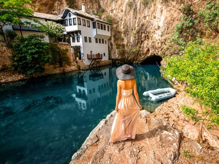 Those who visit Blagaj, a village in Bosnia and Herzegovina, are often in awe at the majestic sight of the Blagaj Tekke, a monastery built for the Dervish cults. Visitors are welcome to enjoy its wooden interiors or have a cold drink while overlooking the striking Buna river.