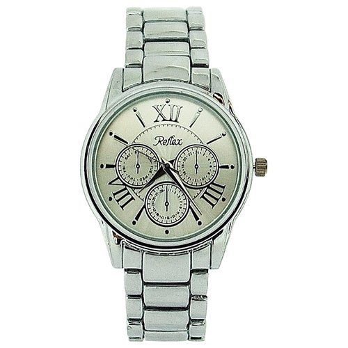 Reflex Unisex Chrono Effect All Silver Tone Metal Bracelet Strap Watch LB200
