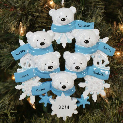 """Personalized Polar Bear Family Ornament Show off your loving family with a personalized Christmas ornament that will give everyone who sees it a """"beary"""" big smile. This classic polar bear design will never go out of style and will make a great heirloom for your family to use for years to come. http://kittykatkoutique.com/personalized-christmas-ornaments/"""