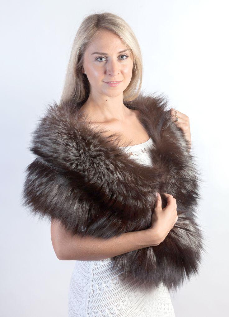 Autentica stola in pelliccia in pregiata volpe argentata Scandinava. Amifur.it