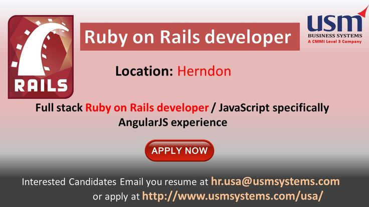 Openings for Ruby on Rails developer in Herndon,Virginia location.Interested candidates please Email your resume to hr.usa@usmsystems.com. You can find more requirements in http://www.usmsystems.com/usa/