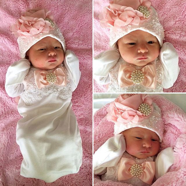 Newborn baby girl take home outfit beaded layette gown by NanaJustbananas on Etsy https://www.etsy.com/listing/171809668/newborn-baby-girl-take-home-outfit