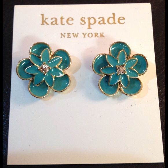 Kate Spade Earrings Sale Price Firm These are teal blue flowers with a rhinestone center Kate Spade brand new earrings kate spade Jewelry Earrings