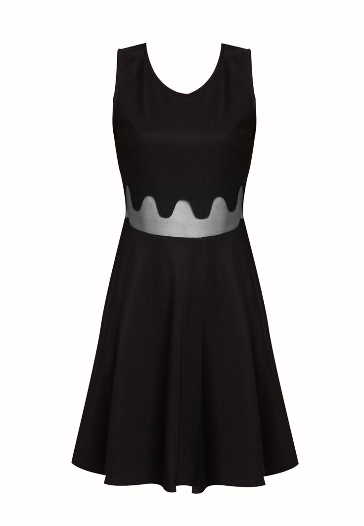Mesh Waist Dress by something borrowed. Unique dress with dripping sheer details, with v back, round neck, sleeveless, back zipper, unlined, fit and flare. Looking gorgeous with this unique dress. Black dress is a must. http://zocko.it/LESkX