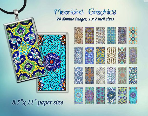 ARABIC PATTERNS  Digital Collage Sheet  1 x 2 by MoonbirdGraphics