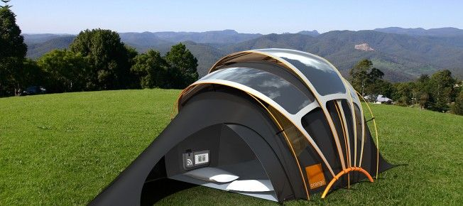 """Solar powered tent. Great idea buuuuut... Problem? If it has *any* power then it's not camping. You've already lost your right to say """"I'm camping."""" Just get an RV, and stop the attempt at a compromise. True. Story."""
