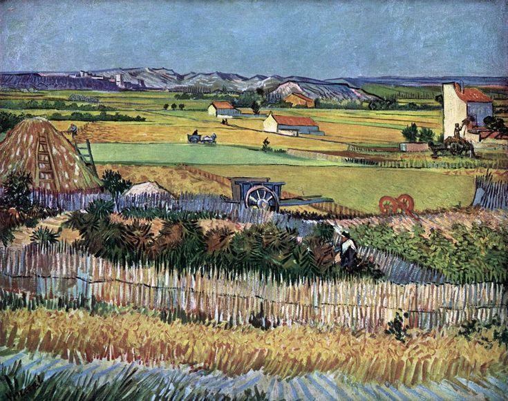 Van Gogh - Harvest at La Crau (The Blue Cart) June 1888, Arles