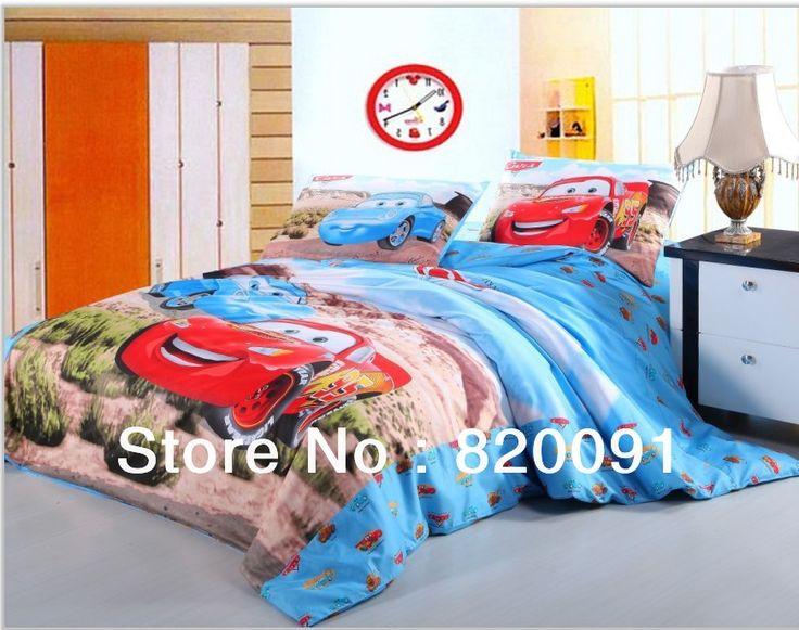 Мультфильм гоночных автомобилей печатных постельное белье для мальчиков 3 или 4 шт. 100% хлопок пододеяльник комплект домашний текстиль для двухшнековый / полный / двуспальная кровать, Синий