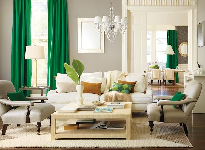 Serena & Lily Malachite Green Living Room - I am totally loving this gorgeous green paired with the warm gray.