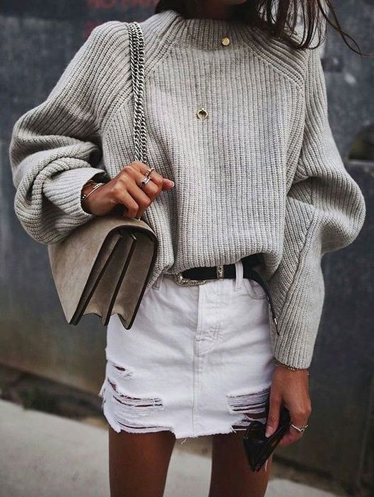 grey knit + white denim skirt. #style #fashion