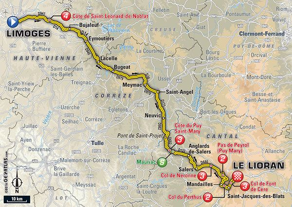 Étape 5 - Limoges > Le Lioran - Tour de France 2016