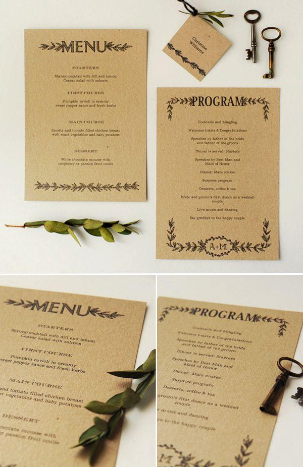 Kraft + Black + Super simple design. #wedding #menu #stationery
